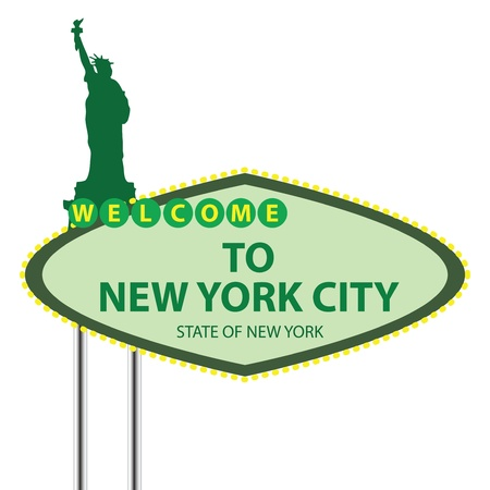 Stand Welcome to New York City in the sky with the birds. Vector illustration. Vector