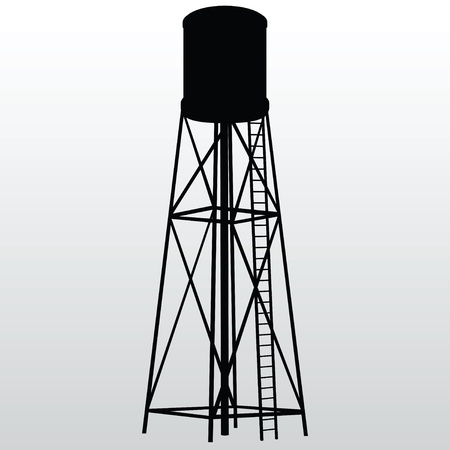 reserves: Industrial construction with water tank. Vector illustration.