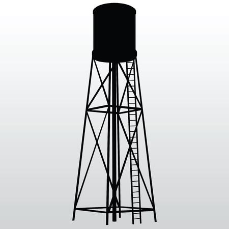 dep�sito agua: La construcci�n industrial con tanque de agua. Vector ilustraci�n. Vectores