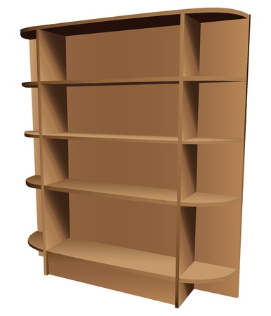 Contemporary wooden bookcase with shaped shelves