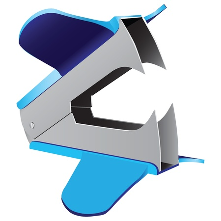 staplers: A staple remover is a device that allows for the quick removal of a staple from a material without causing damage. Vector illustration.