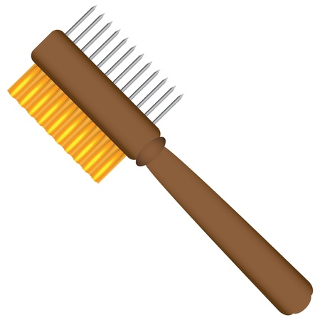 2 Sided Painters Comb For Cleaning Paint Brushes. Vector illustration.