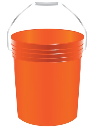 Plastic bucket for paint. Working accessory. Vector illustration.