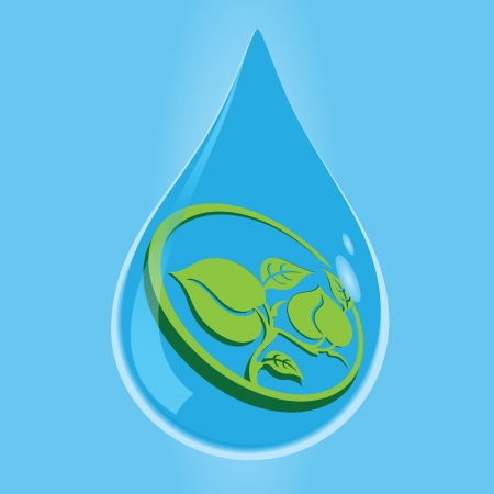 Symbol of the environment in a drop of water. Vector illustration.