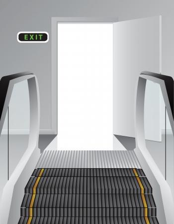 에스컬레이터에 문을 엽니 다.