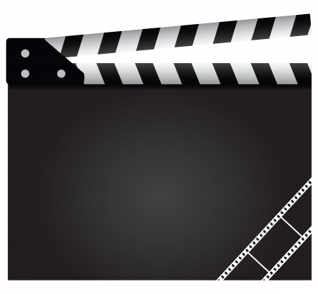 film industry: Film clapper with design elements. Background.