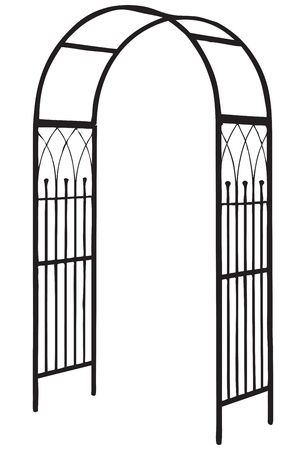 bower: Openwork design to decorate the garden paths and a support for climbing plants. Vector illustration. Illustration