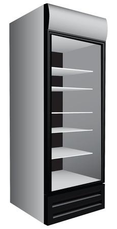 Commerciële koelkast showcase voor de handel gekoeld voedsel. Vector illustratie.