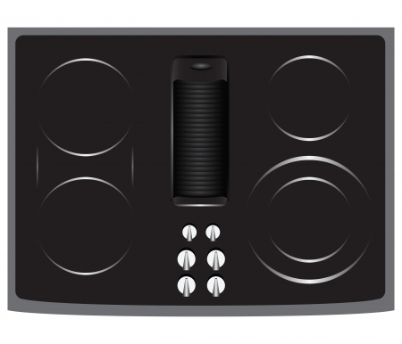 Electric hob for home cooking with the five elements and grill. Vector illustration.