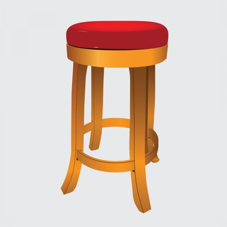 Wooden stool with a soft leather seat. Vector illustration.