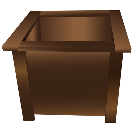 planter: Decorative wooden box for planting in the garden.  Illustration