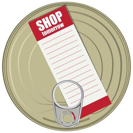 tincan: Shopping list on a can.