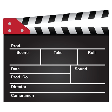 film industry: Movie clapper used in the film industry. Background. Vector illustration. Illustration