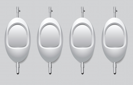 Urinals in the mens restroom to urinate standing up. Vector illustration.