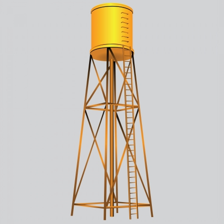 storage: Industrial construction with water tank. Vector illustration.