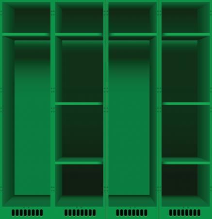 kleedkamer: Opties stalen kasten voor kleedkamers in openbare plaatsen. Vector illustratie.