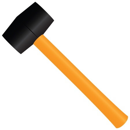 Rubber Mallet - a tool for straightening work. Vector illustration. Vector