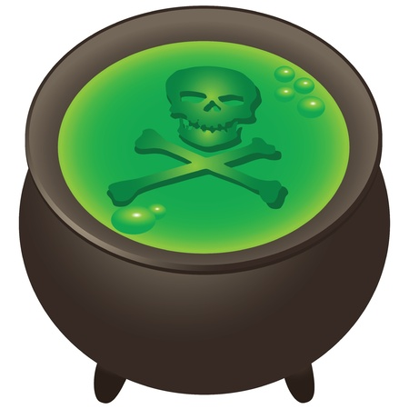 chowder: Skull and crossbones. Preparation of magical ingredients in the pot. Vector illustration.