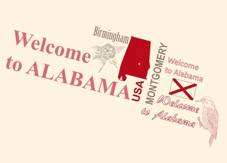 capita: Card Welcome to Alabama with the symbols of the state. Vector illustration. Illustration