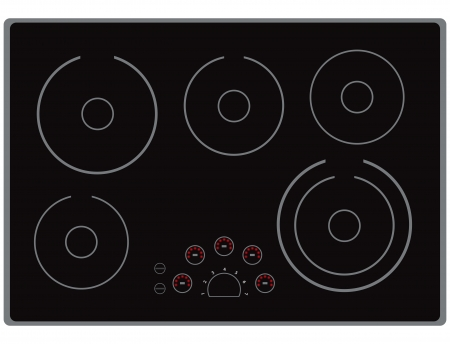 cooktop: The surface of the modern electric stoves for home cooking. Vector illustration.