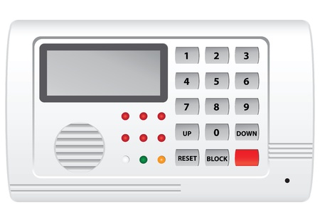 alarm system: Security system control panel with display. Vector illustration.