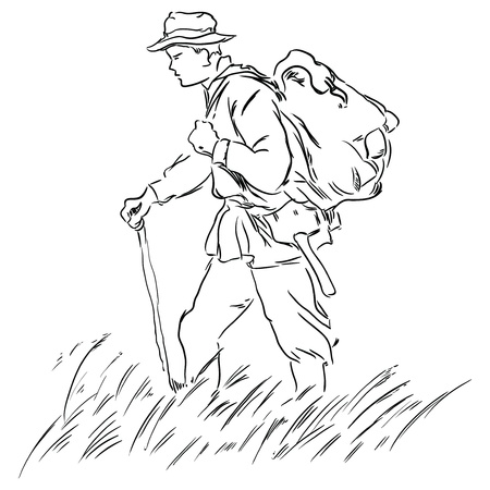 wilderness: Geologist with a backpack on the road. Vector illustration.