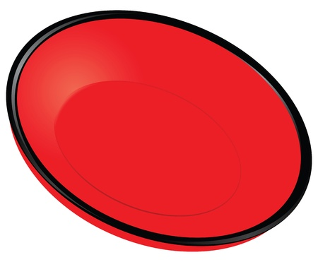 plate of food: Red plate with black rim.  Illustration
