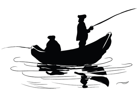 Fishermen in a boat. Fishing from a boat. Drawing made by hand.  Иллюстрация