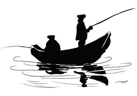 Los pescadores de un barco. Pesca desde embarcación. Dibujo hecho a mano. Foto de archivo - 18882756