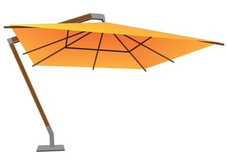bracket: Big sun umbrella on a stationary bracket. Vector illustration. Illustration