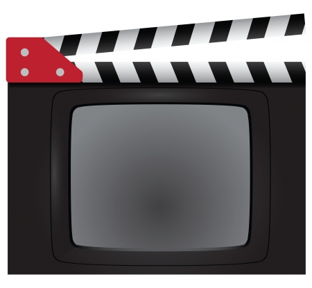 Movie clapper with a television screen. Background. Vector illustration.