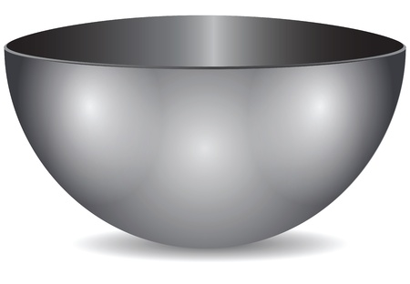 Steel bowl, a hemisphere. Utensils for commercial and home kitchens. Vector illustration.