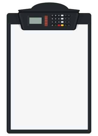 Clipboard with calculator - Way to hold the paper in the management of records. Vector illustration. Illustration