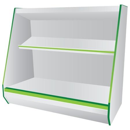Commerciële rekken met opknoping planken. Vector illustratie.