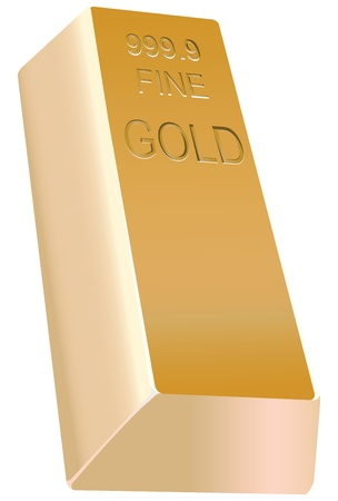 lingot or: Grand lingot d'or sous une forme traditionnelle. Vector illustration.