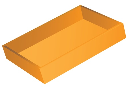 Wooden flat open box as a tray in trade organizations. Vector illustration.