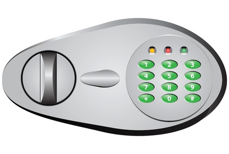 Digital lock for a safe touch-tone dialer. Vector illustration. Vector