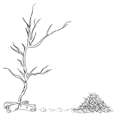 fallen: Hand drawn vintage christmas tree with fallen needles Illustration