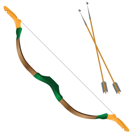 Mongolian bow with a tense string. Vector illustration. Vector