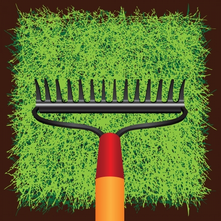 greensward: Garden rakes against the green grass turf. Vector illustration.