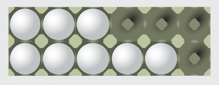poor diet: Incomplete egg tray on a dozen eggs. Packaging for food. Vector illustration.