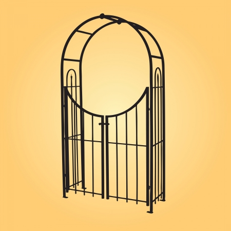 arbor: Openwork design to decorate the garden paths and a support for climbing plants. Vector illustration. Illustration