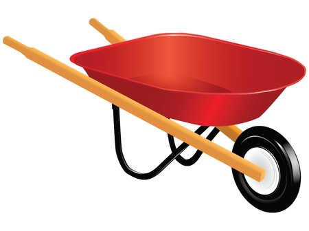 Industrial tool for manual movement of construction and household items - industrial wheelbarrow. Vector illustration.