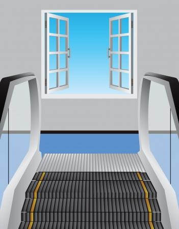Escalator leading to an open window illustration. Ilustração