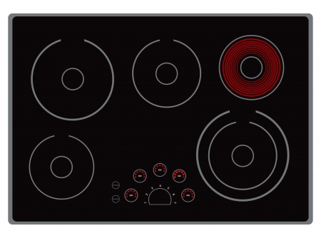 Modern electric stove surface with the included element.  Illustration