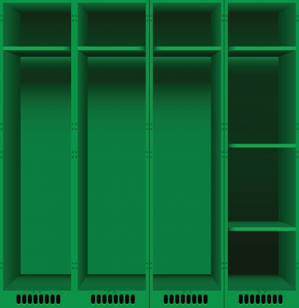 Options steel lockers for changing rooms in public places illustration. Vector