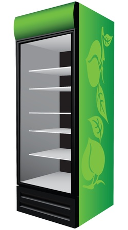 refrigerator with food: Green refrigerator showcase for trade refrigerated food  illustration
