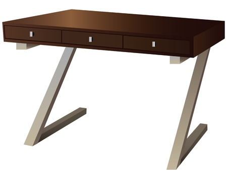 countertop: Writing desk with three drawers for office illustration.