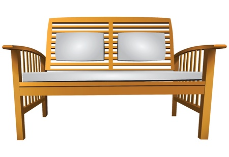terraced: Wooden garden bench with cushions illustration. Illustration
