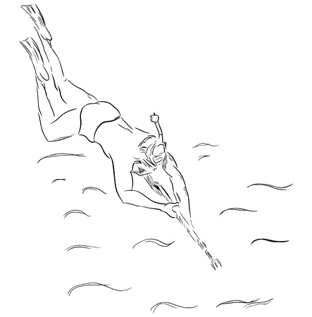 skin diving: Diver with a mask and a gun for underwater hunting. Spearfishing, Sports,  rendered by hand.